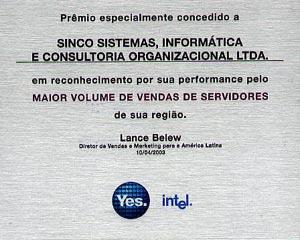 Premio Intel de MAIOR VOLUME DE VENDAS DE SERVIDORES