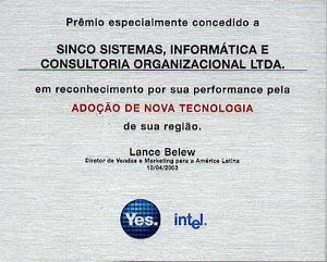 Premio Intel por ADOÇÃO DE NOVA TECNOLOGIA